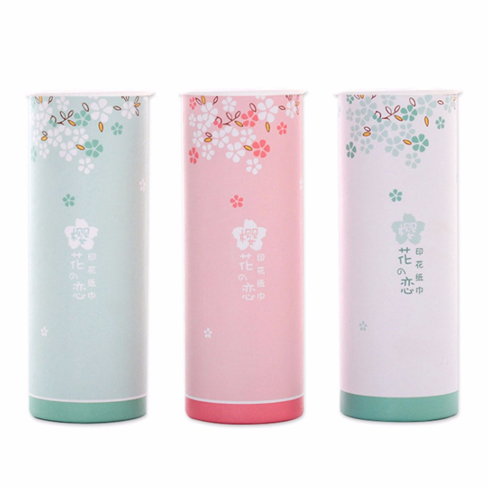 40 Sheets 3 Ply Disposable Facial Tissues Sanitary Paper Nordic Style Colored Cheery Blossom Travel Portable Cylinder Box