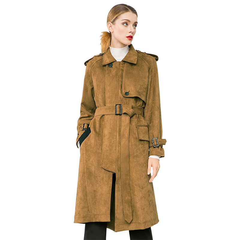 Solid suede loose plus size straight long trench coats 2018 new turn down collar full sleeve women autumn trench coats in Trench from Women 39 s Clothing