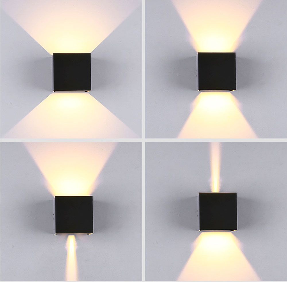 Waterproof Modern Outdoor Led Cube Wall Lamp Up And Down