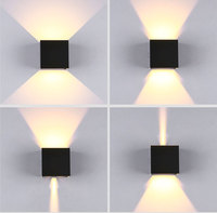 Waterproof Modern Outdoor LED Cube Wall Lamp Up And Down Adjustable Light Angle COB Aluminum AC85 265V 6W LED Porch Light