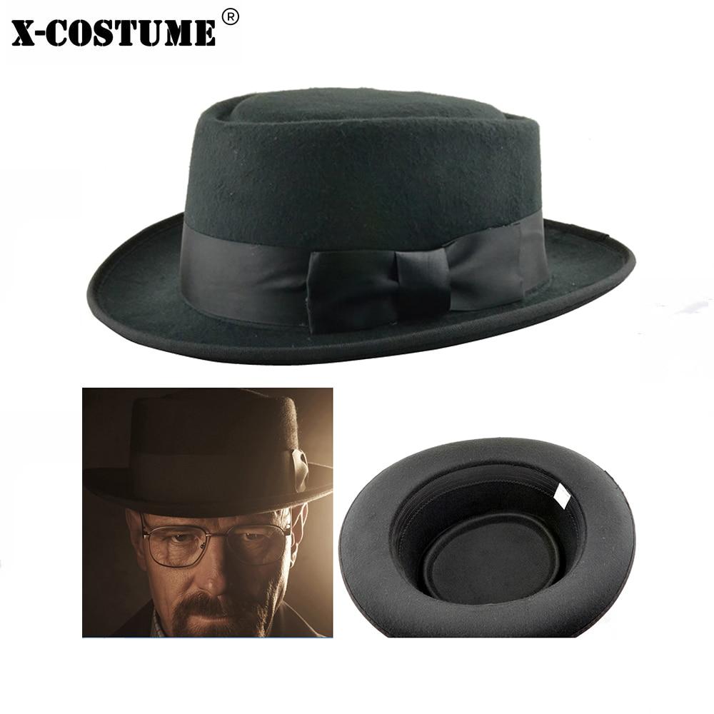 Xcoser Costumes Breaking Bad Walter White Cosplay Heisenberg Hat Pork Pie Props Accessories Casual Black Cool Hats For Men Women