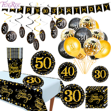 Paper Tableware Stickers 30th 40th 50th Birthday Party Decoration Adult Gold Black birthday 40 50 60 Year