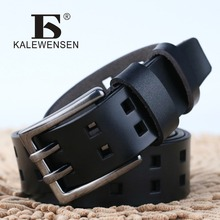 New Double Pin Buckle Genuine Leather Belt For Men