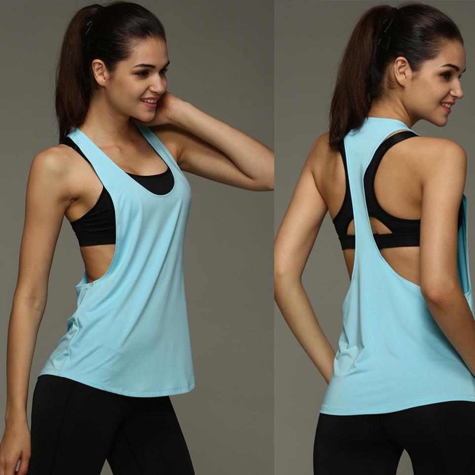 8 цвета лето сексуальных женщин, топы быстрое высыхание свободные brethable размещений жилет без рукавов верхней тренировки упражнение футболка 1033