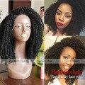 Qualidade superior de Fibra de Cabelo Cor Preta 180% Densidade Kinky Curly Perucas de cabelo Sintético Lace Front Wigs Resistente Ao Calor para o Preto mulheres