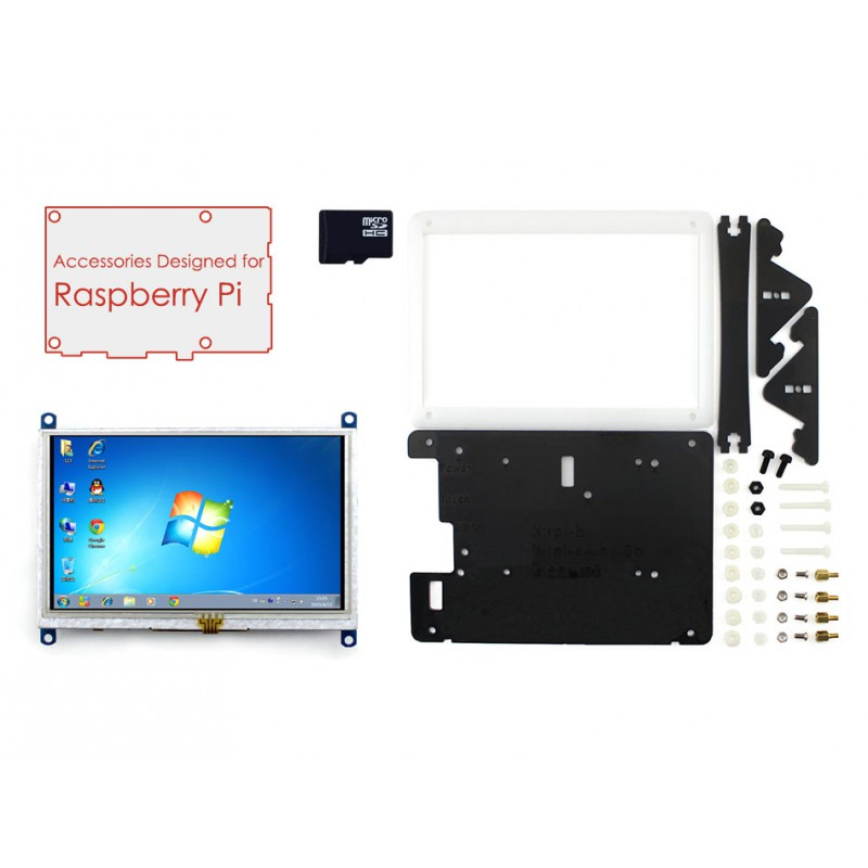 ФОТО Raspberry Pi Display 5 inch HDMI LCD 800*480 Touch Screen Support Various Systems+Bicolor Case+16GB Micro SD Card=RPi Acce E