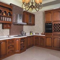 Gabinete de cocina de madera de cerezo sólido hecho en China