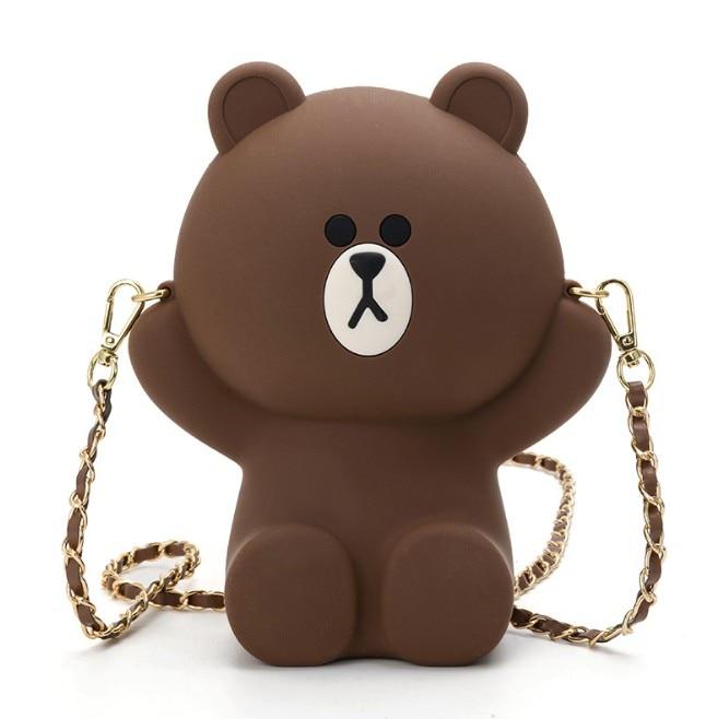 Bear Handbag Silica-Gel-Bags Women Mobile-Phone-Bag Messenger Crossbody Female Kids Girl