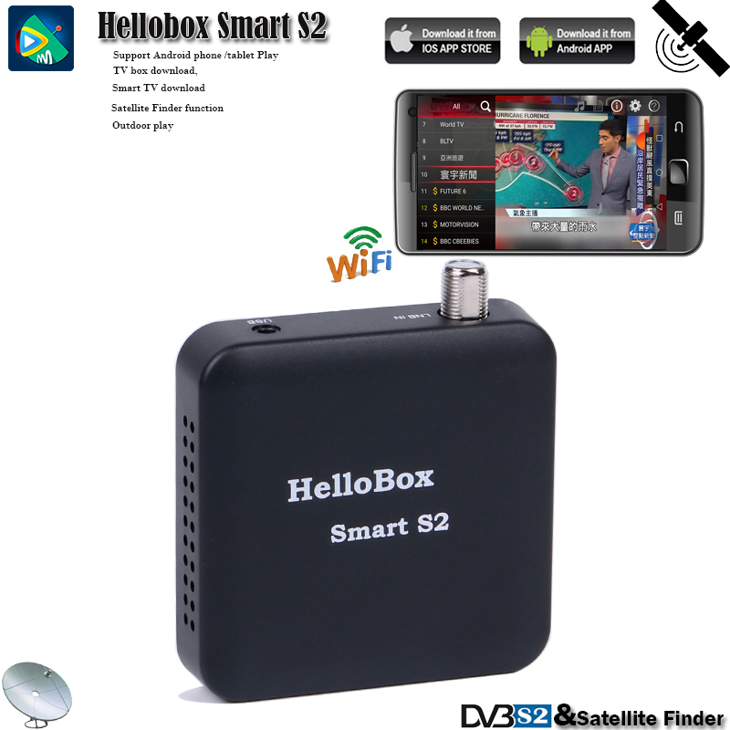 Hellobox Receiver Satellite Support Cccam Satellite Finder TV Tuner DVBS2 Support IOS/Android System Play On Mobile Phones