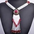 Forma de Gota de Agua Grande de la vendimia Collar Antiguo Del Oro Africano Plateado Perlas Borla Collares Turcos Collar Pendiente Largo Para Las Mujeres