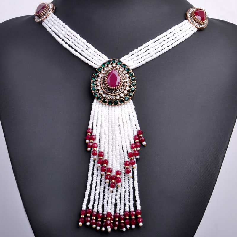 Vintage Water Drop Shape Big Necklace Gold Color African Beads Tassel Necklaces Turkish Jewelry Long Pendant