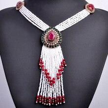 Forma de Gota de Agua Grande de la vendimia Collar de Oro de Color Africano Perlas Borla Collares Turco Joyería Collar Largo Colgante Para Las Mujeres