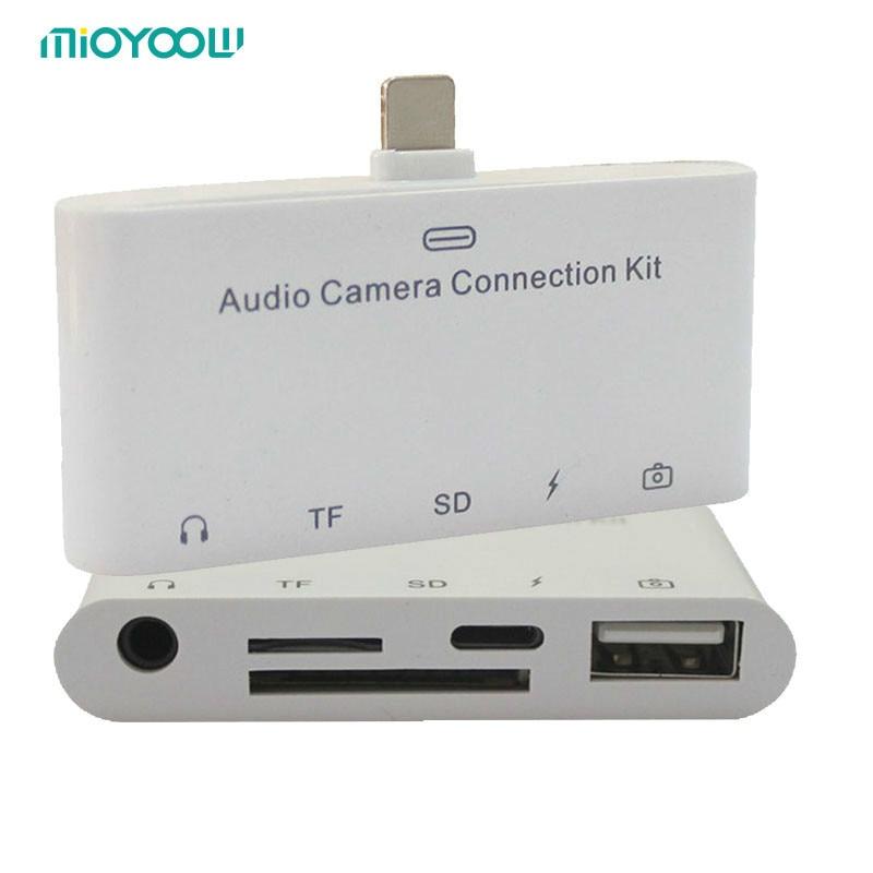 5 in1 Micro USB Lecteur de Carte SD SDHC TF SD Carte Pour iPhone 6/6 s 7 plus/ipad pro air/Samsung/LG/HTC Android OTG Téléphones pour IOS 11