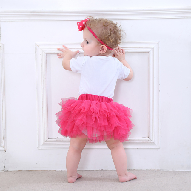 Fashion Baby Girl clothing Set Bodysuit jumsuit set Cotton Romper+6 layer tutu skirt Headbands Infant 1st Birthday Clothing suit 5