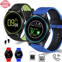 Bluetooth men Smart Watch V9 Micro SIM 2G With Camera Smartwatch Pedometer Health Sport MP3 music Clock For Android suppport
