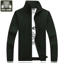 AFS JEEP Cardigan Men's Sweater Pull Homme Thick Warm Sweater Plaid Standard Wool Sweaters Pull Homme Plus Size XXXL Mens Coats