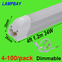 4 100/pack 4ft 120cm T5 Integrated Bulb Fixture Dimmable 20W LED Tube Light with fittings Surface Mounted Lamp Linear Lighting