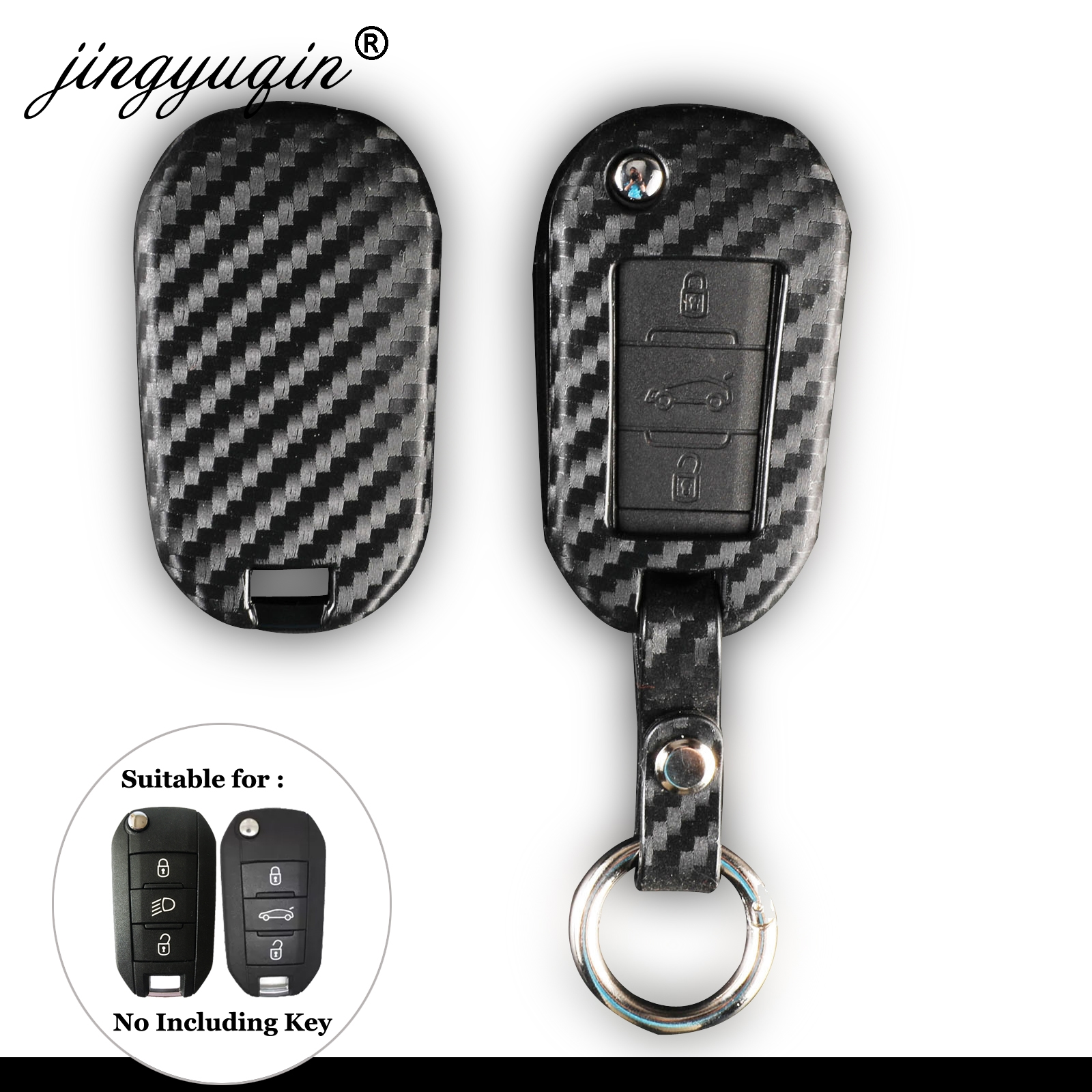 Carbon Silicone Car Key Case for Peugeot 3008 208 308 508 408 2008 For Citroen C4 CACTUS C5 C3 C4L Anti-fall Protect Cover