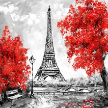 Laeacco Red Leaves Trees Eiffel Tower Painting Landscape Photography Backgrounds For Photo Studio Vinyl Custom Backdrops