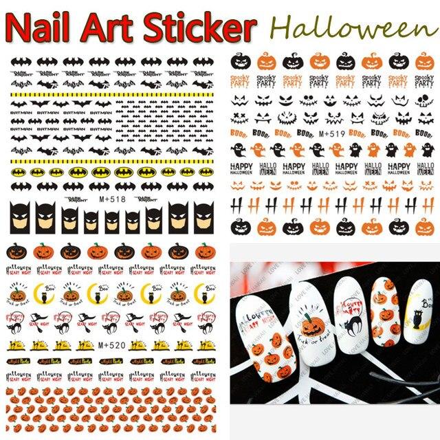 nails art sticker decals halloween pumpkin batman owl bat harajuku fantacy nail wraps sticker decorations