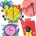 3pcs/lot 2016 hot sale 3D EVA Handmade Animal Learning Clock Puzzle Assembled DIY Creative Educational Toys children's toys