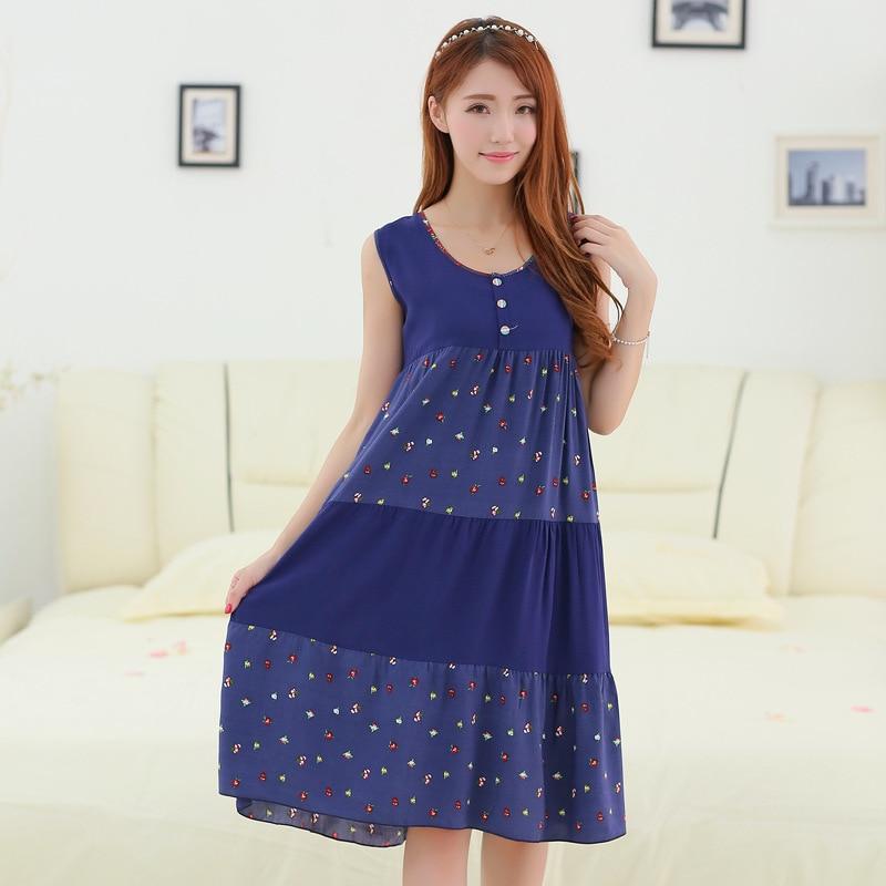 Loose Nightgown Navy Blue Nightdress Cotton Sleepwear Women Nightwear Summer Home Dress Gown Sexy Sleep Shirt Nightshirt L-XXL