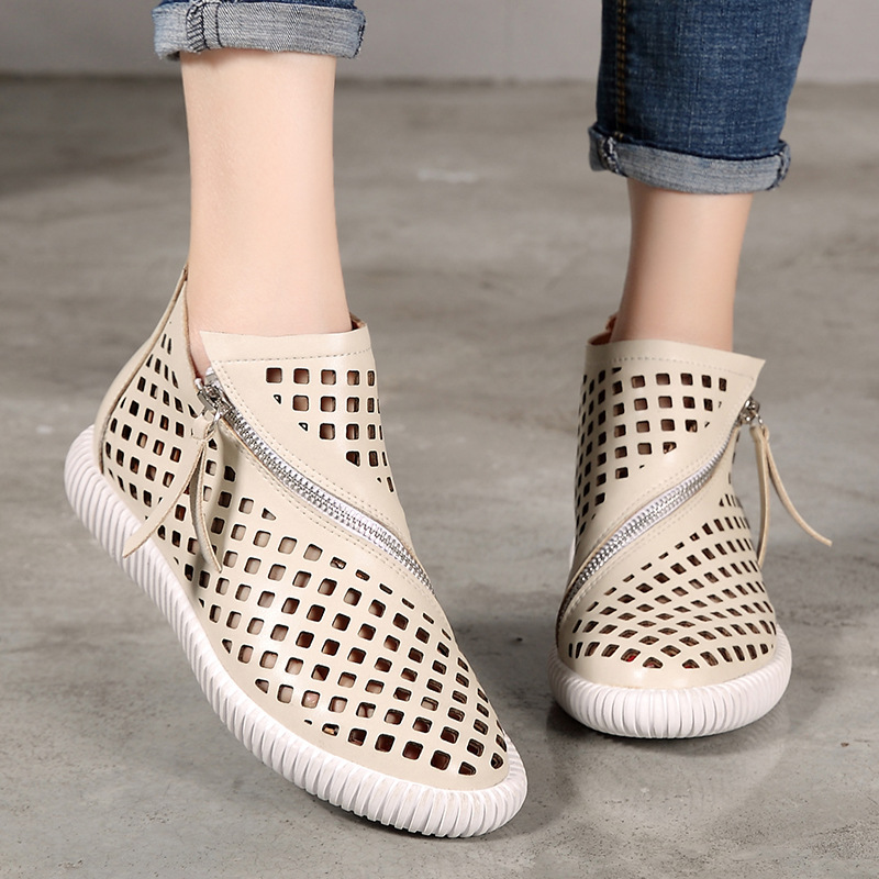 2019 VALLU Women Shoes Grid Hollow Genuine Leather Round Toe Women s Shoes National Zipper Flat
