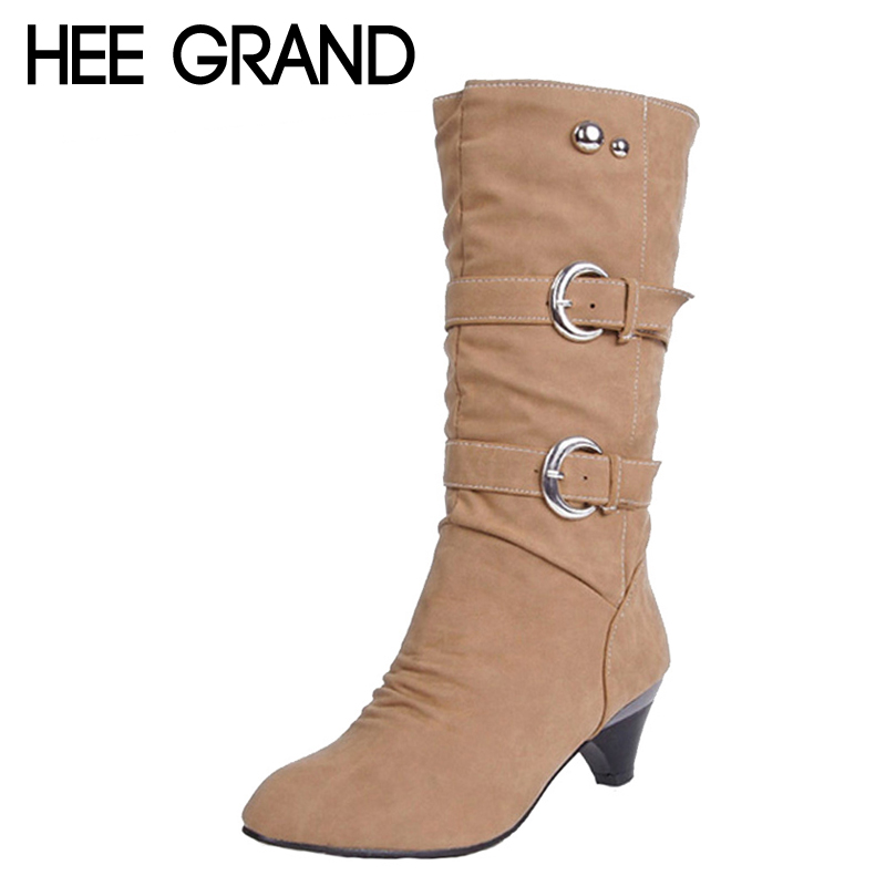 HEE GRAND Low High Heels Women Boots Autumn Buckle Mid-Calf Boots Elegant Slip On Pumps Shoes Woman For Ladies Size 35-39 XWX931 hee grand sweet patent leather women oxfords shoes for spring pointed toe platform low heels pumps brogue shoes woman xwd6447