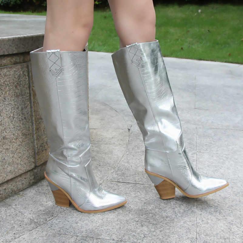 Meotina ฤดูหนาว Embossed เข่ารองเท้าบูทสูงแปลกสไตล์ส้นสูง Western รองเท้าชี้ Toe สูงรองเท้าฤดูใบไม้ร่วงขนาด 3-12
