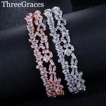 67ce604cfb86 ThreeGraces CZ joyas de cristal multicapa AAA Cubic Zirconia moda Baguette brazalete  pulsera de brazalete para el regalo de las mujeres BA006