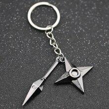 Kunai Dart Keychain Shuriken Weapon Konoha Logo Uzumaki Sasuke Itachi Black Keyring Key Chain Ring Ninja Anime Jewelry Wholesale