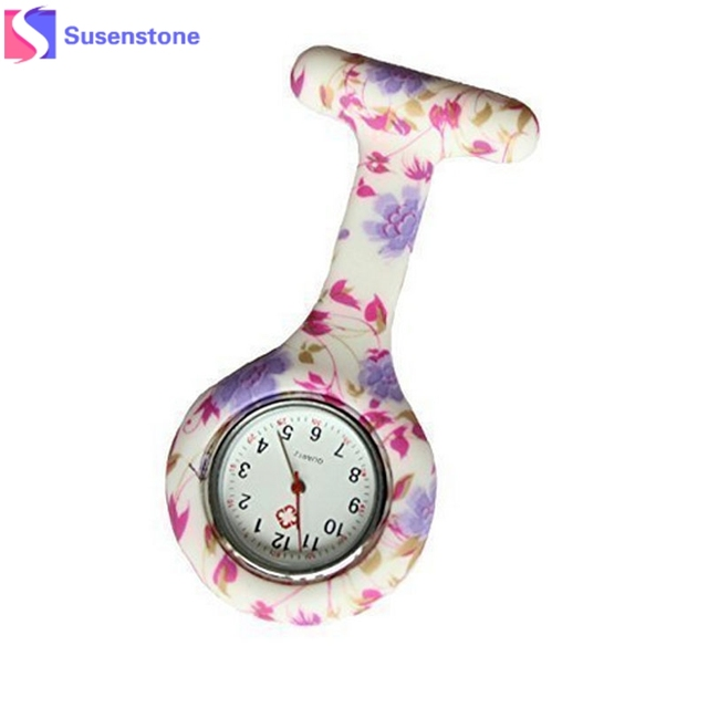 Colored Circles Fashion Floral Heart-shaped Hanging Nurse Pin Watch Clip-on Fob Brooch Pendant Pocket Watch Hanging Quartz Clock