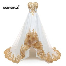 Doragrace Real Photo Sweetheart Sleeveless Lace-Up Applique Tulle High-Low Prom Dresses Party Gowns