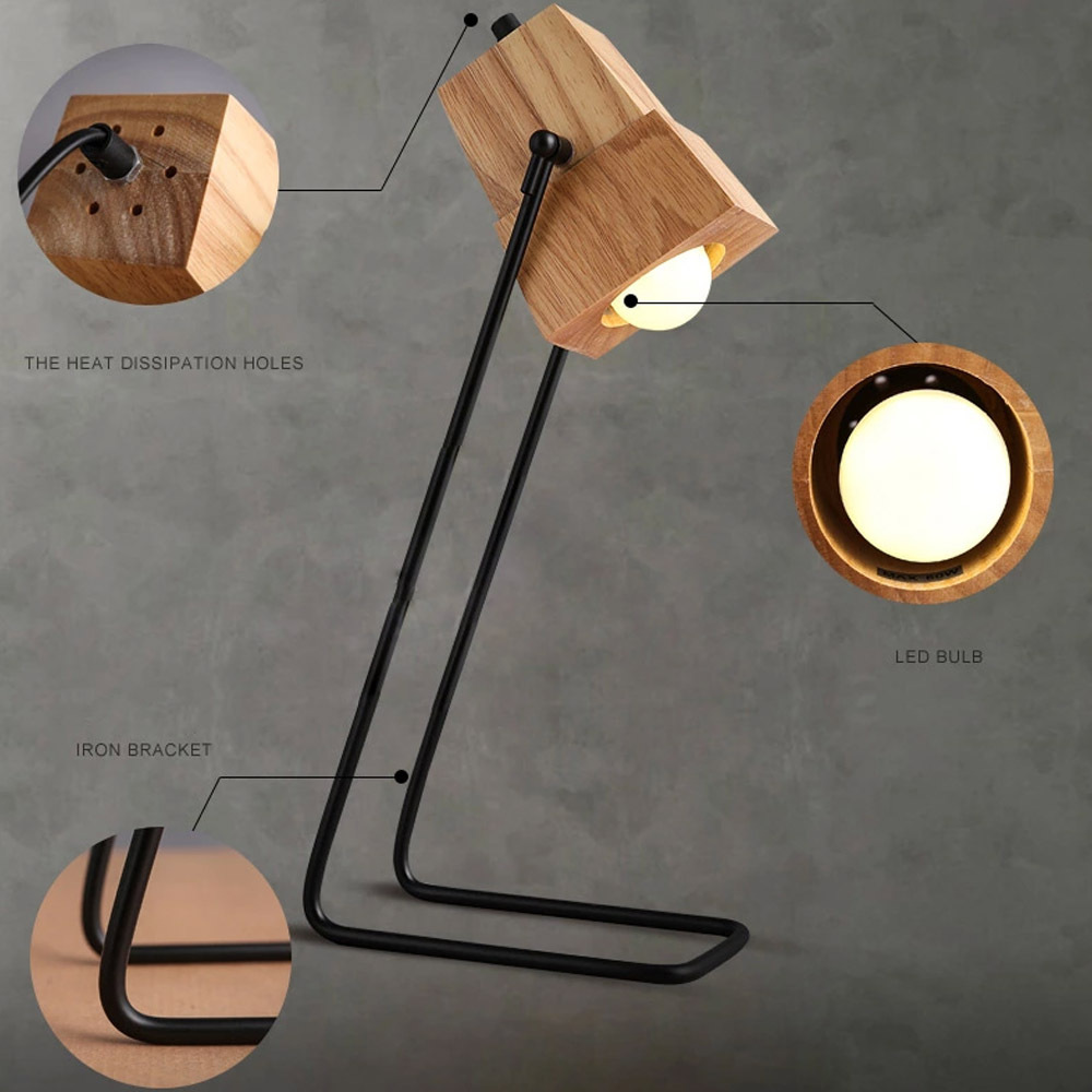 Creative Diy Embles Wooden Desk Light Table Lamp Iron Holder With Ventilation Holes Bar Study Decor Lights Free Shipping In Lamps From