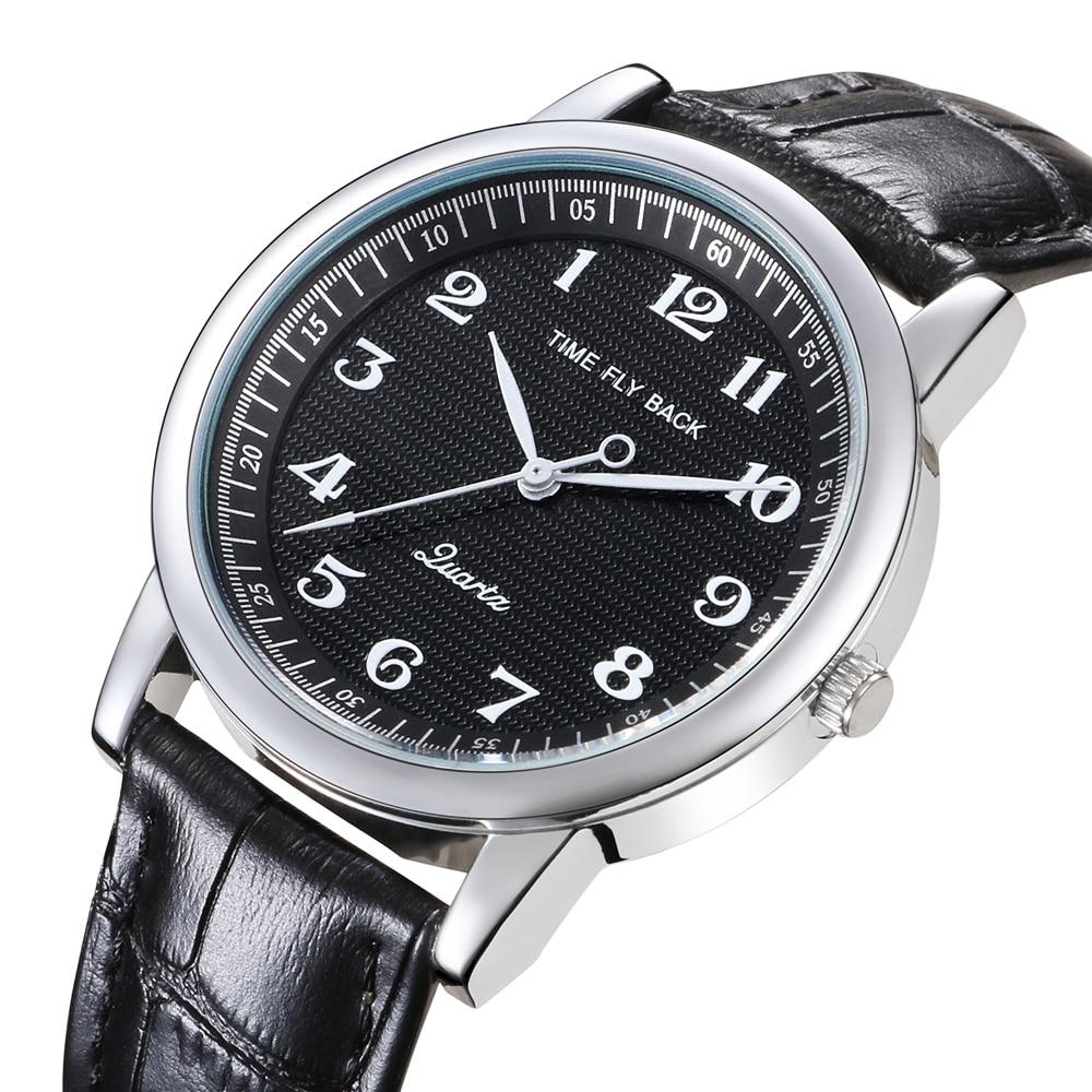 Fashion Reverse Watch Men Quartz Backward Wrist Watch Boys Counterclockwise Watch Waterproof Leather Strap Anticlockwise Watch