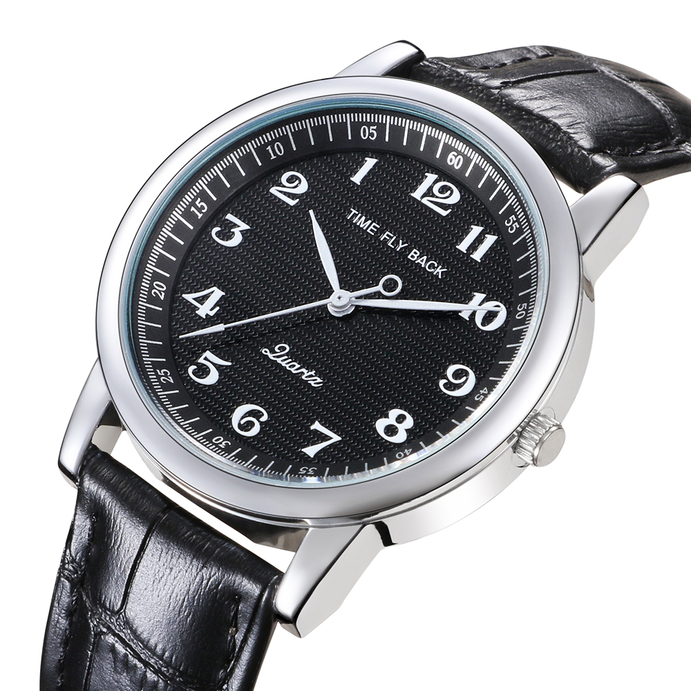 Quartz Watch Men Leather Steel Counterclockwise Backward Scale Oil Embossing Dial Waterproof Reverse Watch Boy Student Men WatchQuartz Watches   -