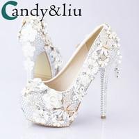 White Diamond bow women's high heeled Cherry Blossom pendants bridal round head waterproof table toast wedding