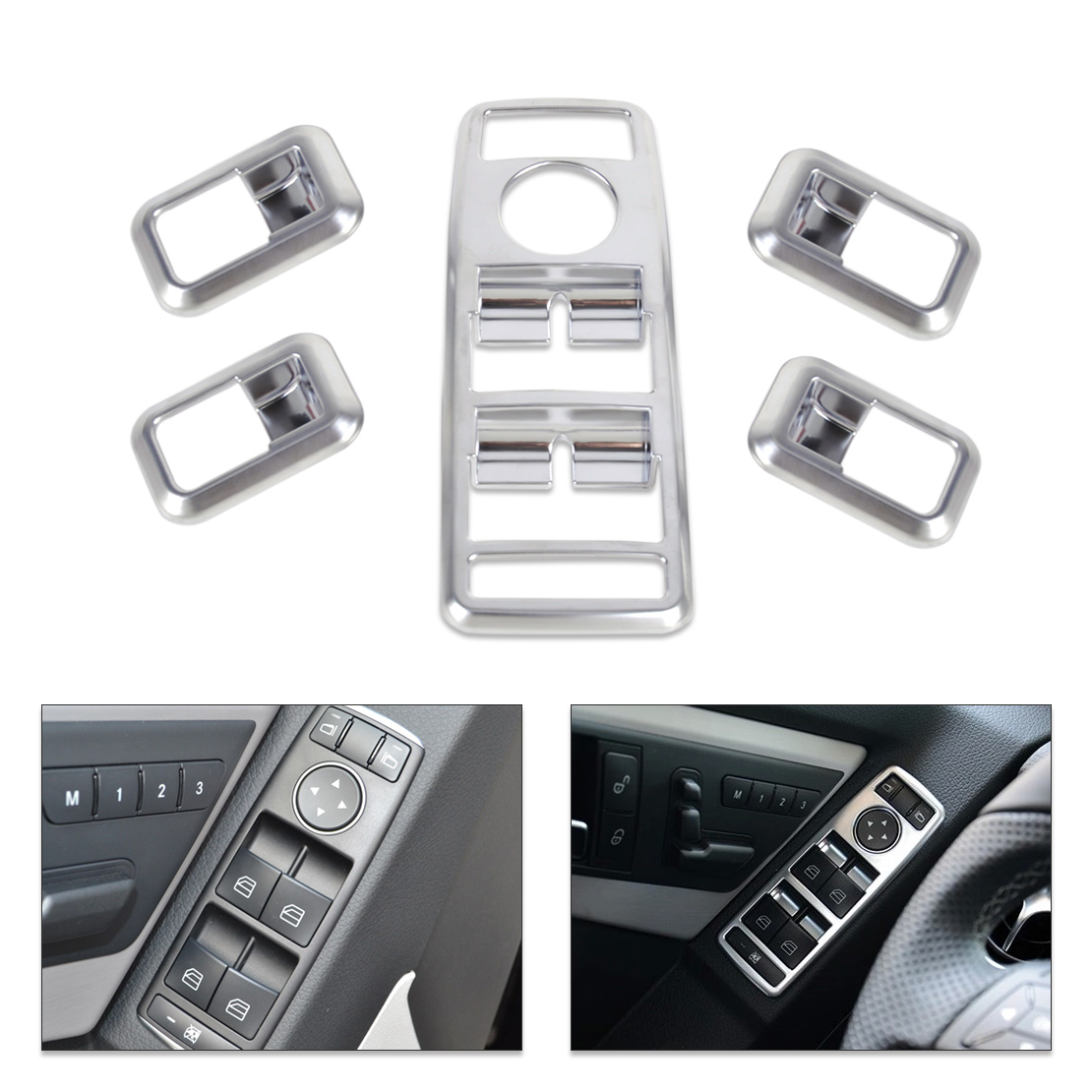 Car Styling Matt Chrome Door Window Switch panel Cover Trim for Mercedes Benz A B C GLK Class W176 W246 W204 W212 W218 X204