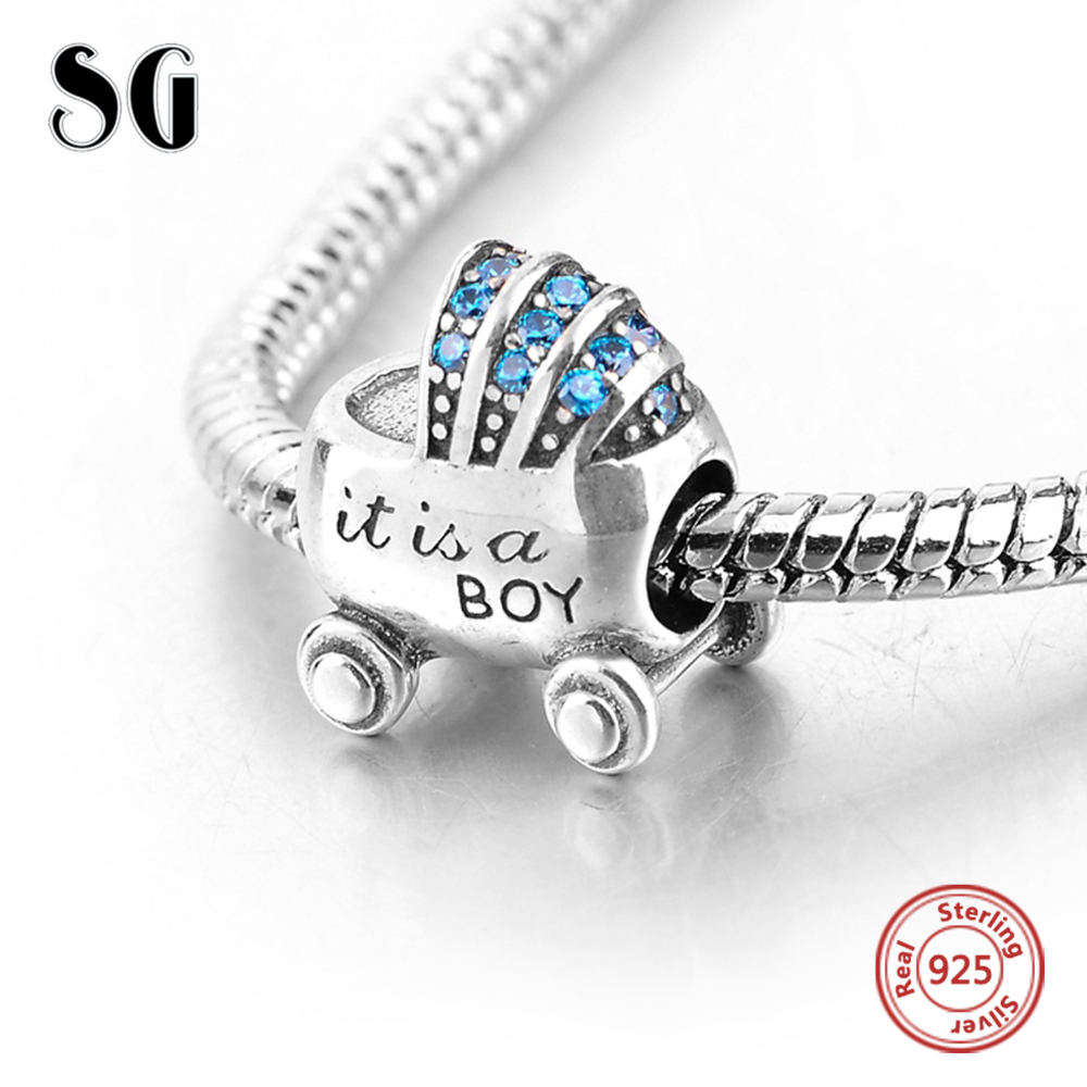 Mini Baby Boy Carriage Beads Fit Original Pandora Charming Bracelets &Necklace Cute Beads for Women 925 Sterling Silver Jewelry