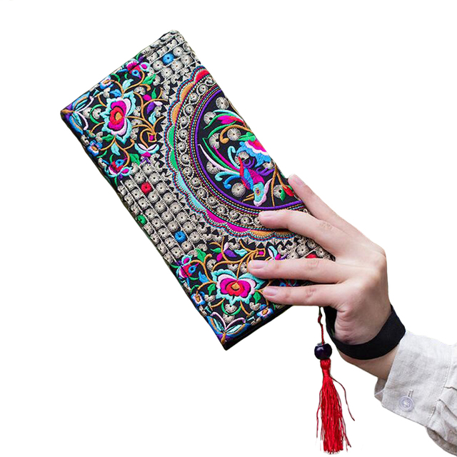 New National Ethnic Women Embroidery Wallet Double Side Embroidered Flower Coins Purse Bags Women's  Small Handbag Clutch Bag