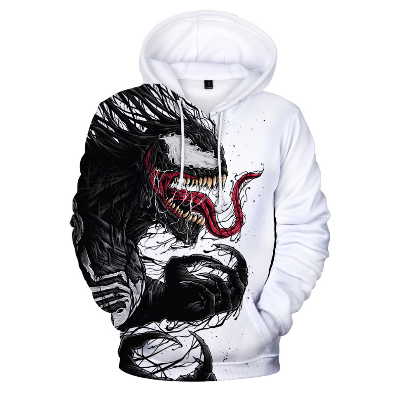 Comic Venom Hoodie Sweatshirts Men Superhero Anime Cool Black Autumn Winter Tops Plus Velvet Warm Hoody Couple Hip Hop Pullovers (2)