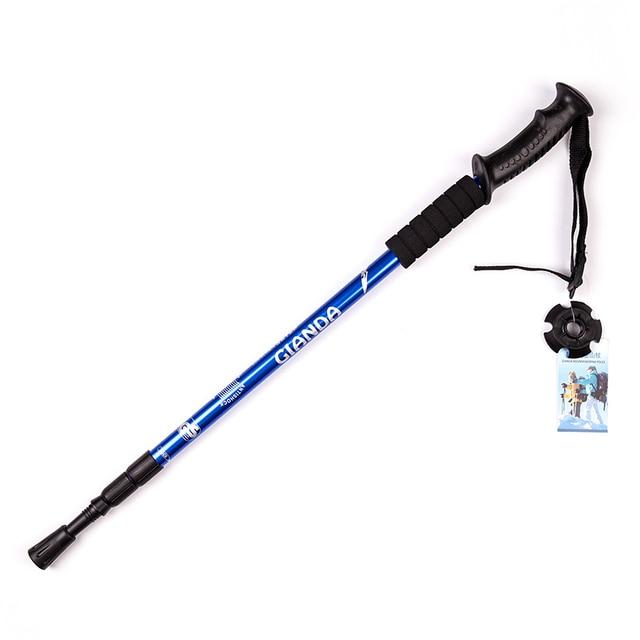 Adjustable Telescopic Aluminum Alloy Hiking Walking Stick Trekking Pole 4 Section EVA Anti-shock Anti-skid Ultra-light Stick