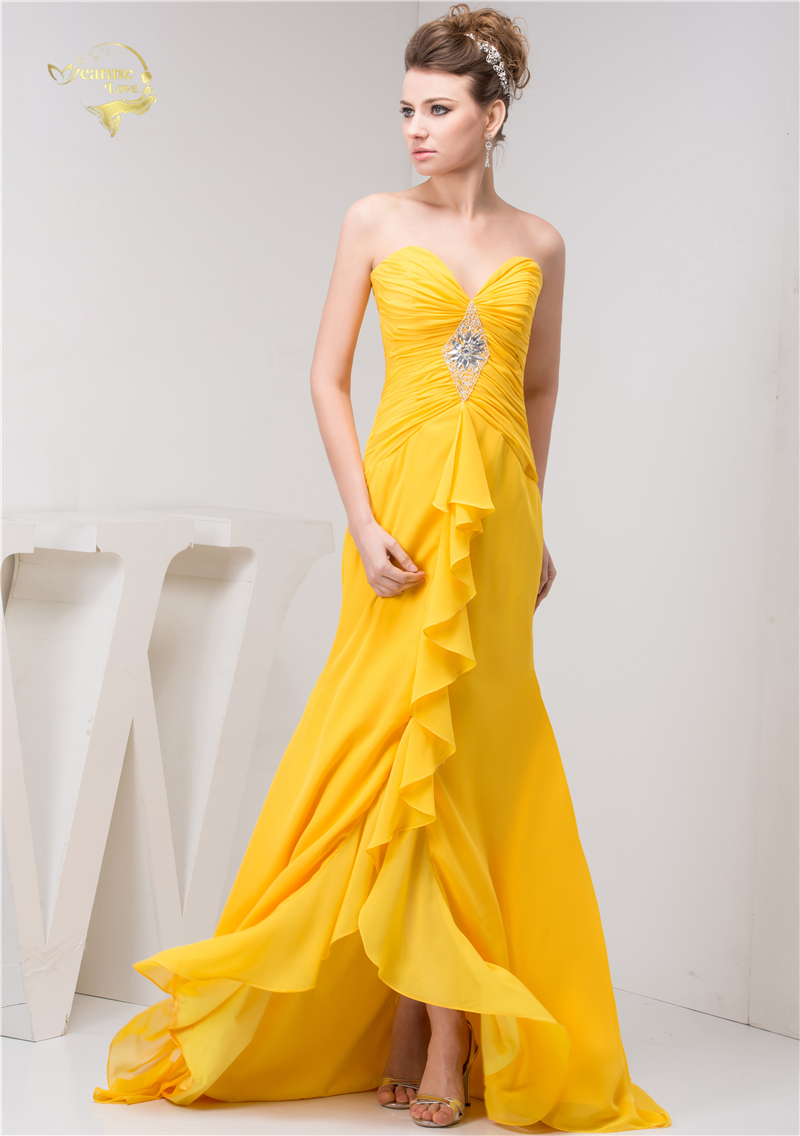 Popular Yellow Evening Dresses for Ladies-Buy Cheap Yellow Evening ...