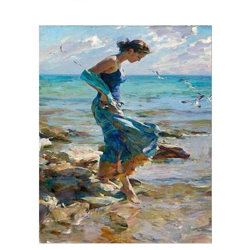Картина по номерам DIY Прямая поставка 40x50 60x75 см Девочка играет на пляже фигура холст свадебное украшение искусство картина подарок
