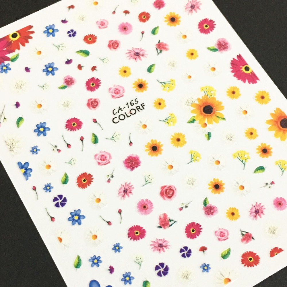 Newest CA 209 mixed flowers design 3d nail sticker Japan style nail decals back glue DIY nail decoration tools for nail wraps in Stickers Decals from Beauty Health