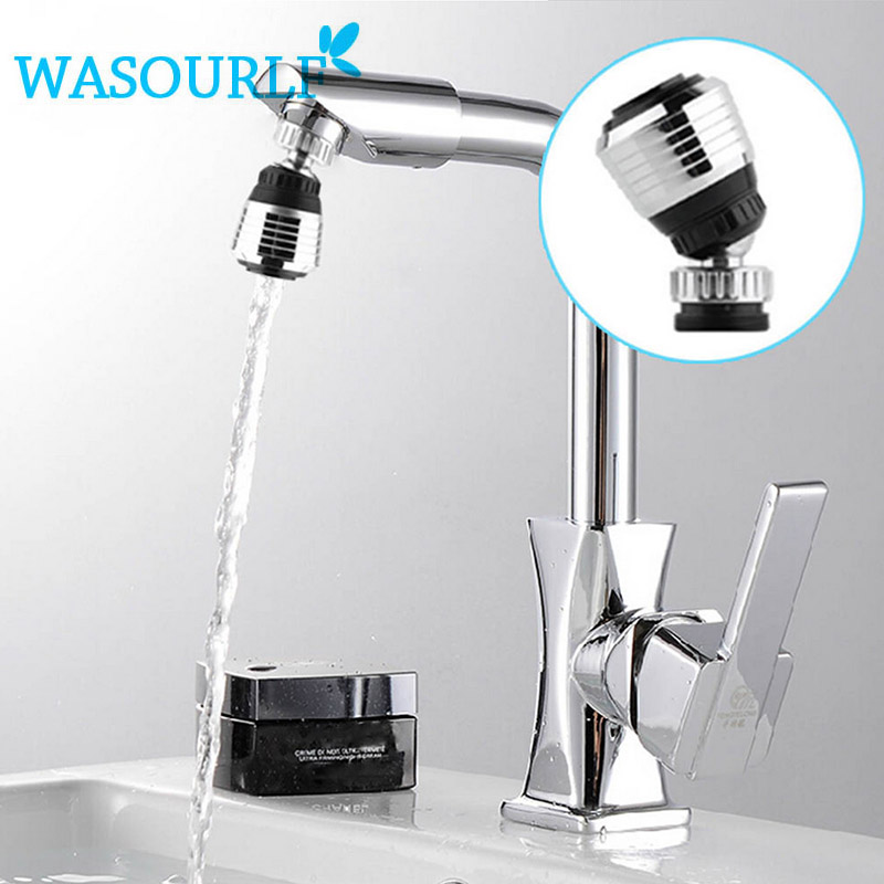 WASOURLF Two Function Bubble Device Plastic Faucet Adapt 360 Degree Tap Water Saving Aerator 24mm Male Thread Chrome Plated