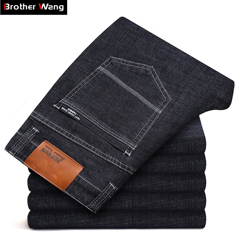 Big Size 40 42 44 46 Men Brand Jeans New Slim Fit Business Casual Stretch Denim Pants Male Balck Blue Thick Trousers
