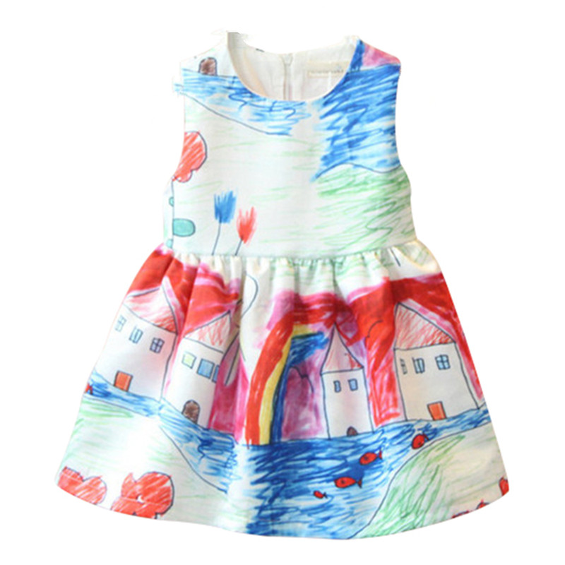 Girls Dress 2016 Summer Kids Clothes Floral Princess Sundress Cotton Children Clothing for Girls Party Holiday Outwear 3929-3930