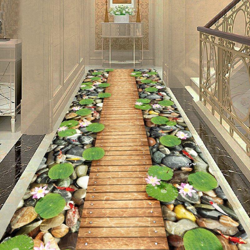 3D Flower Corridor Carpet Livingroom Home Decorative Stair Carpet Hotel Aisle Rug Entrance/Hallway Doormat Anti-Slip Bedroom Rug