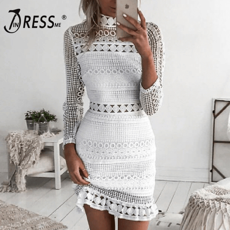 INDRESSME Sexy Lace Mini Full Sleeve Turtleneck Solid Hollow Out Fashion Autumn Pretty Women Lady Bandage Dress 2018 New Arrival